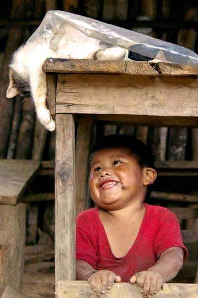 "alt=""A happy kid is playing with the cat"""