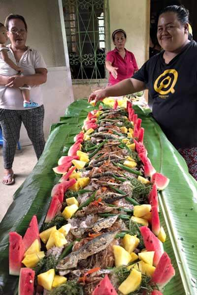 "alt=""Filipino boodle fight is an all island flavors"""